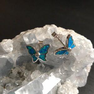 Jewelry - Sterling Silver Lab Opal Butterfly CZ Earring NWOT